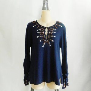 Necessary Objects Beaded Silk Cashmere Sweater Top